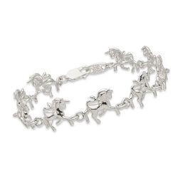 """Sterling Silver Polished Unicorns Bracelet. 7"""", , default"""