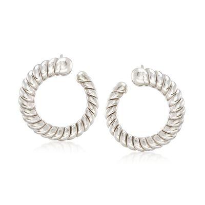Italian Sterling Silver Ribbed Hoop Earrings, , default