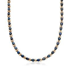 C. 1980 Vintage 29.40 ct. t.w. Sapphire and 4.75 ct. t.w. Diamond Necklace in 14kt Gold, , default