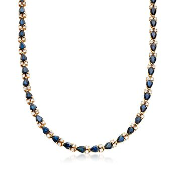 "C. 1980 Vintage 29.40 ct. t.w. Sapphire and 4.75 ct. t.w. Diamond Necklace in 14kt Gold. 16.75"", , default"