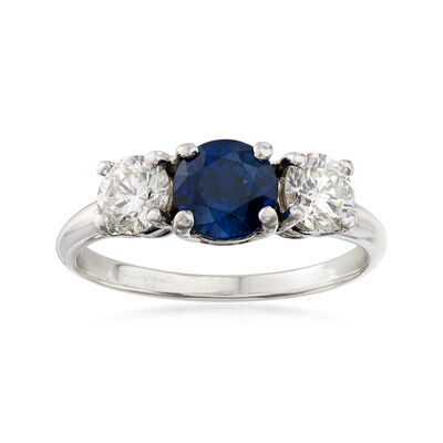 C. 2000 Vintage .88 Carat Sapphire and .72 ct. t.w. Diamond Ring in 14kt Two-Tone Gold, , default