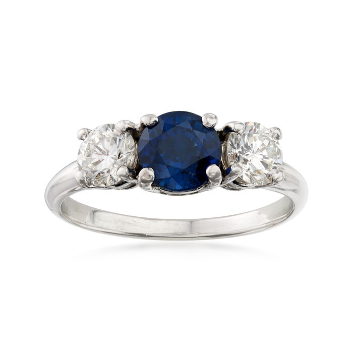 C. 2000 Vintage .88 Carat Sapphire and .72 ct. t.w. Diamond Ring in 14kt Two-Tone Gold. Size 6