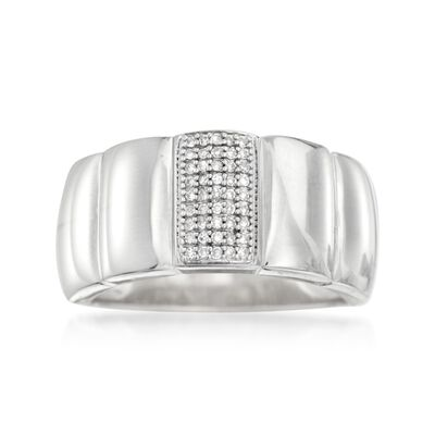 .10 ct. t.w. Pave Diamond Ring in Sterling Silver, , default