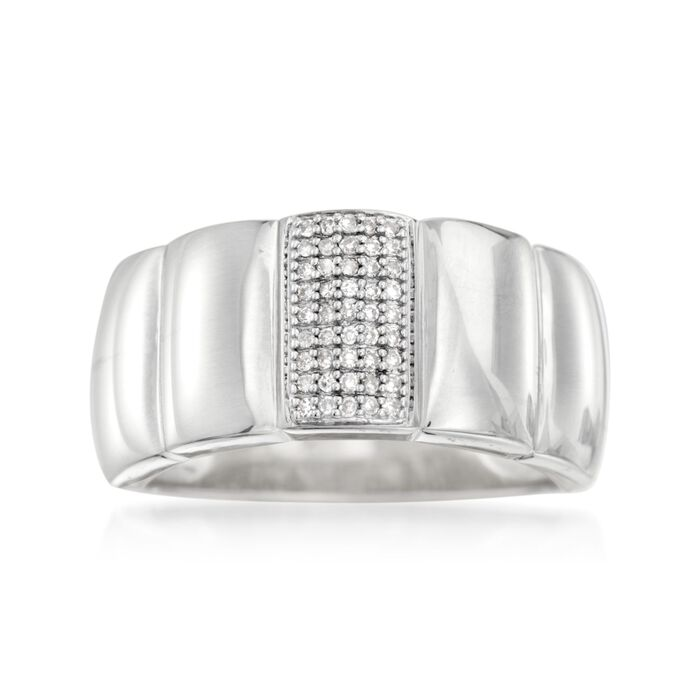 .10 ct. t.w. Pave Diamond Ring in Sterling Silver. Size 5, , default