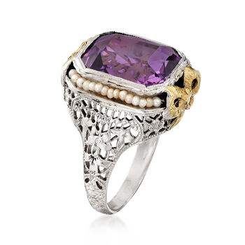 C. 1950 Vintage 3.00 Carat Amethyst Ring with Cultured Seed Pearls in 14kt Two-Tone Gold. Size 5.5