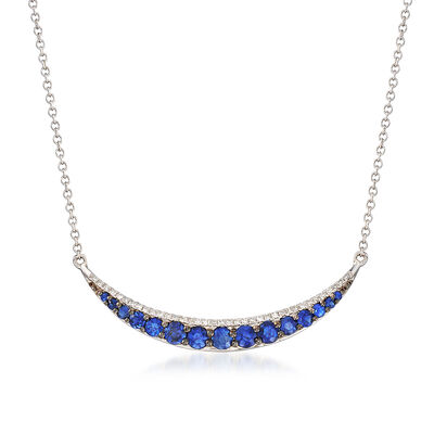 .77 ct. t.w. Sapphire and .11 ct. t.w. Diamond Curved Bar Necklace in 14kt White Gold, , default