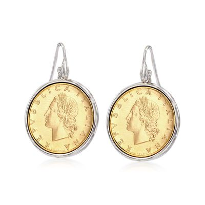 Italian Genuine 20-Lira Coin Drop Earrings in Sterling Silver