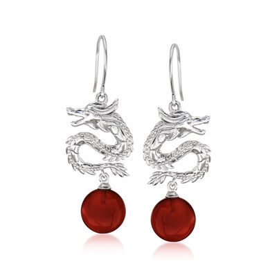 Red Agate Dragon Drop Earrings in Sterling Silver