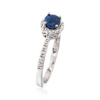 .60 Carat Round Sapphire Ring with Diamond Accents in Sterling Silver. Size 6