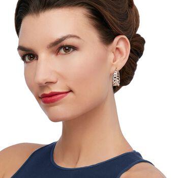"""Italian Sterling Silver Graduated Curb Chain Hoop Earrings. 1 1/8"""", , default"""
