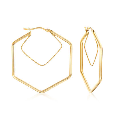 Italian 14kt Yellow Gold Geometric Hoop Earrings