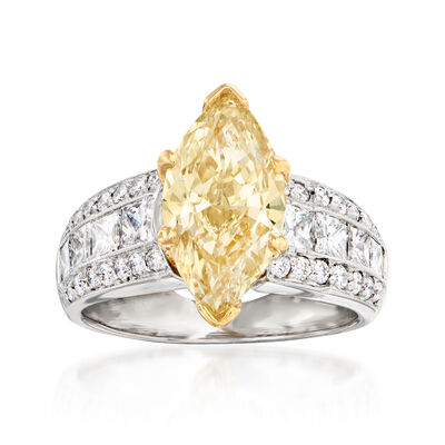 C. 2000 Vintage 2.56 Carat Yellow Diamond and 1.35 ct. t.w. Diamond Ring in Platinum with 14kt Yellow Gold
