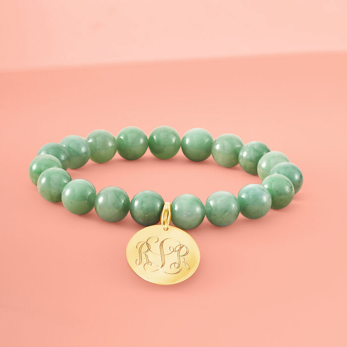 Green Jade Bead Stretch Bracelet with 14kt Yellow Gold Personalized Disc Charm