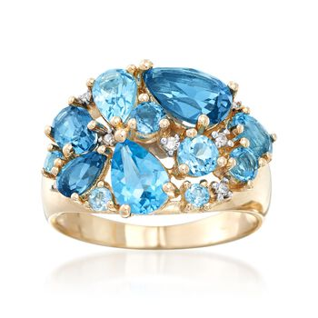 4.45 ct. t.w. Tonal Blue Topaz Cluster Ring With Diamond Accents in 14kt Yellow Gold, , default