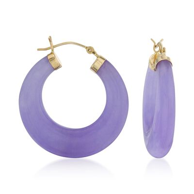 Purple Jade Hoop Earrings in 14kt Yellow Gold