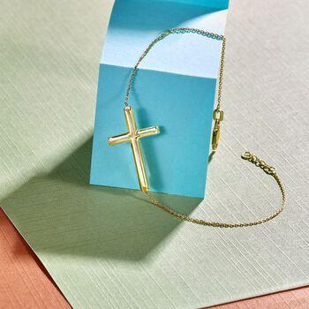 14kt Yellow Gold Sideways Cross Bracelet, , default