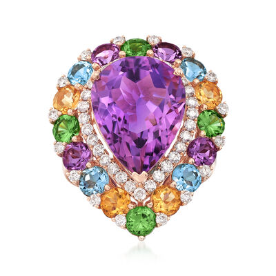 7.00 Carat Amethyst and 4.20 ct. t.w. Multi-Stone Ring in 18kt Rose Gold