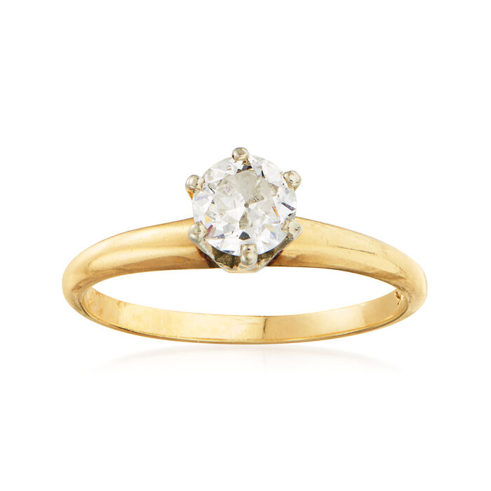 C. 1980 Vintage .50 Carat Diamond Solitaire Ring in 14kt Yellow Gold. Size 6.25
