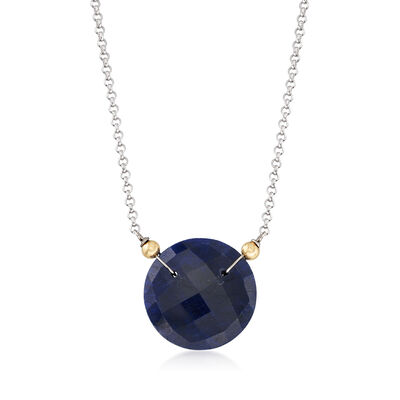 20.00 Carat Sapphire Pendant Necklace in Two-Tone
