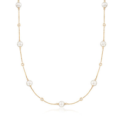 6-7mm Cultured Pearl and .30 ct. t.w. Bezel-Set Diamond Station Necklace in 14kt Yellow Gold, , default