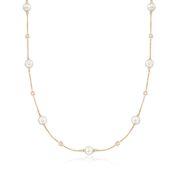 6-7mm Cultured Pearl and .30 ct. t.w. Bezel-Set Diamond Station Necklace in 14kt Yellow Gold