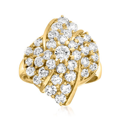 C. 1980 Vintage 2.00 ct. t.w. Diamond Cluster Ring in 18kt Yellow Gold