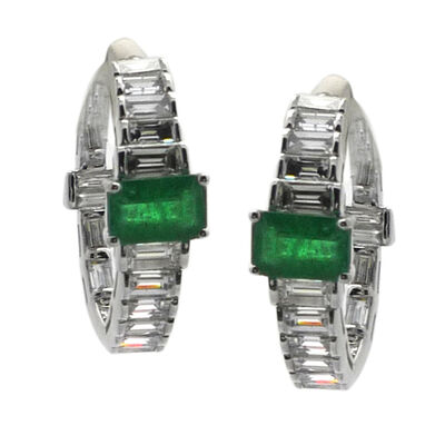 2.10 ct. t.w. Diamond and 1.15 ct. t.w. Emerald Hoop Earrings in 18kt White Gold