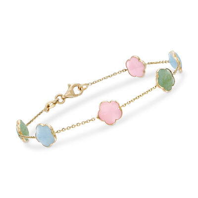 Italian Multi-Gemstone Bracelet in 14kt Yellow Gold, , default