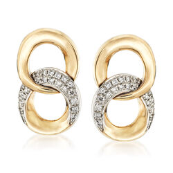 .12 ct. t.w. Diamond Double Circle Drop Earrings in 14kt Yellow Gold , , default