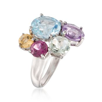 8.30 ct. t.w. Multi-Stone Cluster Ring in Sterling Silver, , default