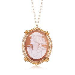 "C. 1950 Vintage Shell Cameo and Cultured Seed Pearl Pin Pendant Necklace in 10kt and 14kt Gold. 18"", , default"