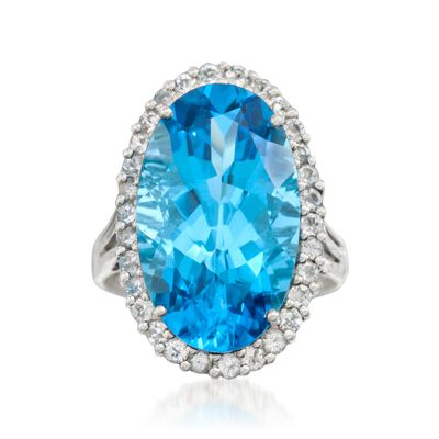 14.00 Carat Blue Topaz and .95 ct. t.w. White Topaz Ring in Sterling Silver