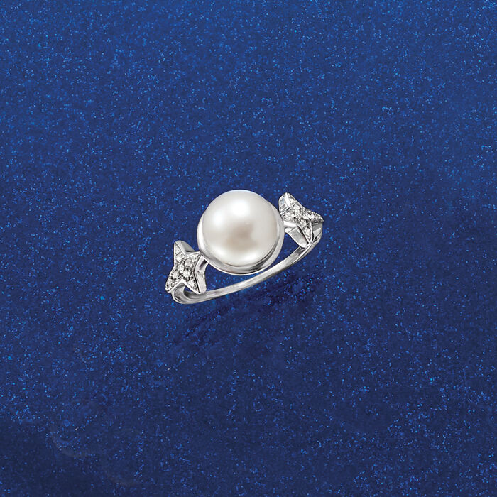 9-9.5mm Cultured Pearl and .10 ct. t.w. Diamond Ross-Simons Signature Star Ring in Sterling Silver