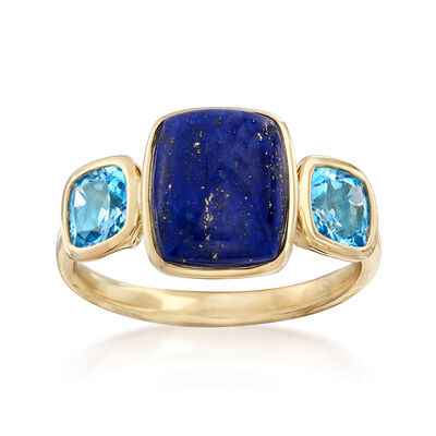 Lapis and 1.10 ct. t.w. Blue Topaz Ring in 14kt Yellow Gold, , default