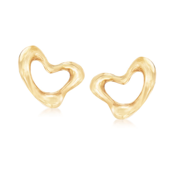 "C. 1980 Vintage Tiffany Jewelry ""Elsa Peretti"" Heart Clip Earrings in 18kt Yellow Gold"