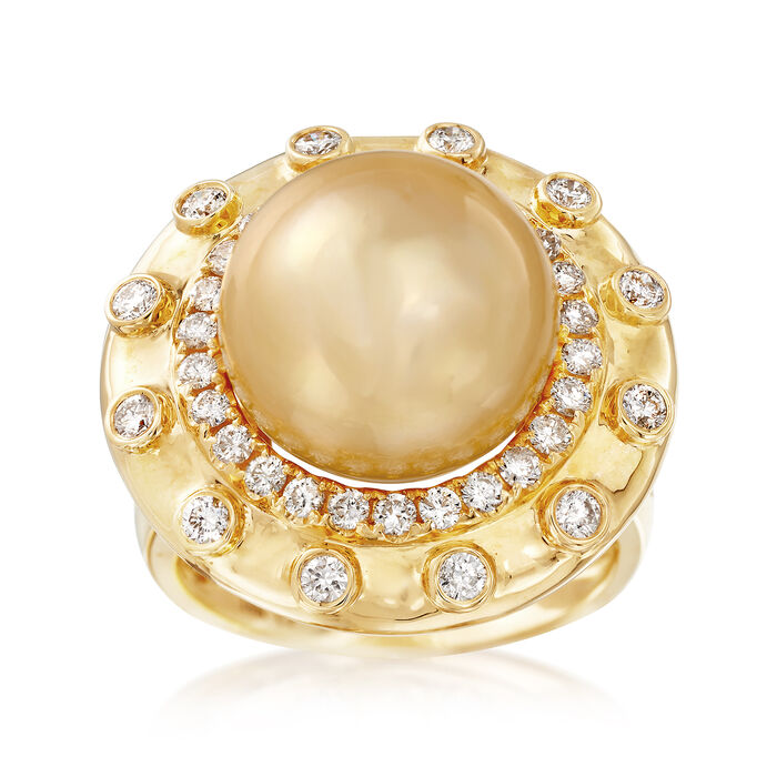 13-14mm Cultured Golden South Sea Pearl and .83 ct. t.w. Diamond Ring in 18kt Yellow Gold, , default