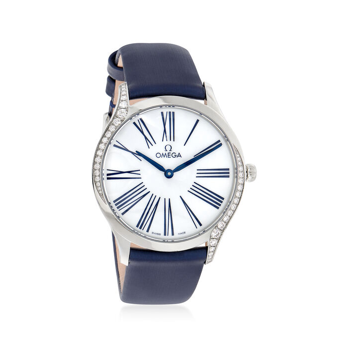Omega De Ville Tresor Women's 36mm Stainless Steel Watch with Diamonds and  Blue Fabric , , default