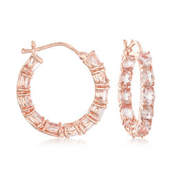 "3.35 ct. t.w. Morganite Inside-Outside Hoop Earrings in 18kt Rose Gold Over Sterling. 7/8"", , default"
