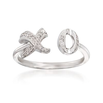 Sterling Silver XO Ring With Diamond Accents, , default