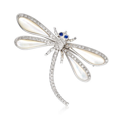 C. 1980 Vintage Mother-Of-Pearl and .70 ct. t.w. Diamond Dragonfly Pin with Synthetic Sapphire Accents in 18kt White Gold