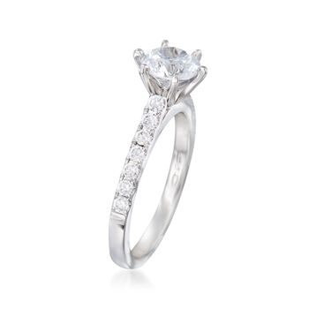 .37 ct. t.w. Diamond Engagement Ring Setting in 14kt White Gold. Size 6.5
