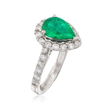 1.60 Carat Emerald and .80 ct. t.w. Diamond Ring in 14kt White Gold, , default