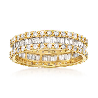 1.50 ct. t.w. Brilliant and Baguette-Cut Diamond Eternity Band in 14kt Yellow Gold, , default
