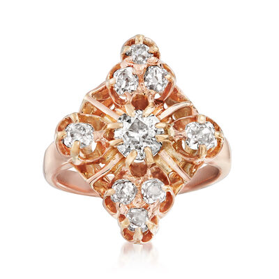 C. 1930 Vintage 1.15 ct. t.w. Diamond Cluster Ring in 14kt Yellow Gold