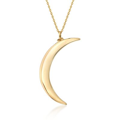 14kt Yellow Gold Crescent Moon Necklace, , default