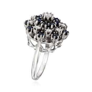 C. 1970 Vintage 1.60 ct. t.w. Sapphire and .90 ct. t.w. Diamond Cluster Ring in 14kt White Gold. Size 6.25, , default