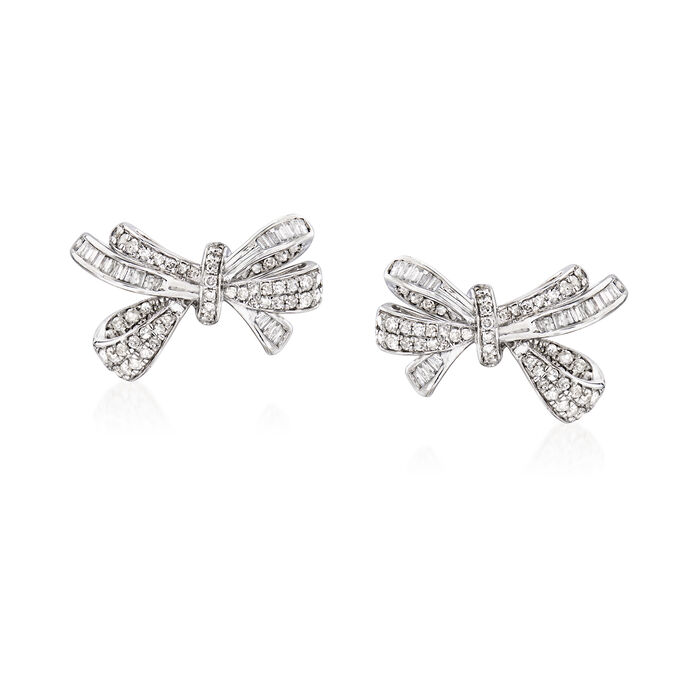 1.00 ct. t.w. Diamond Bow Earrings in 14kt White Gold, , default