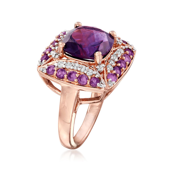 4.40 ct. t.w. Amethyst and .52 ct. t.w. White Topaz Ring in 18kt Rose Gold Over Sterling