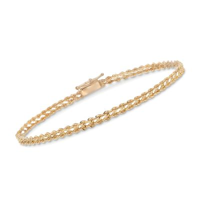 14kt Yellow Gold Two-Row Rope Chain Bracelet, , default
