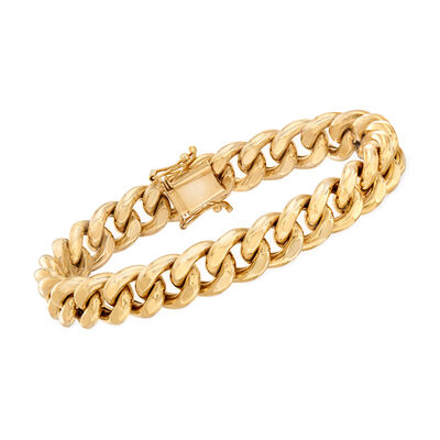 Italian Men's 14kt Yellow Gold Curb-Link Bracelet, , default